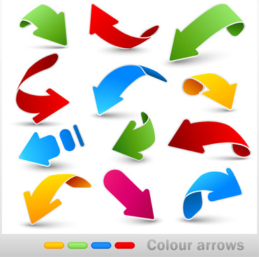 colored dynamic arrows vector set