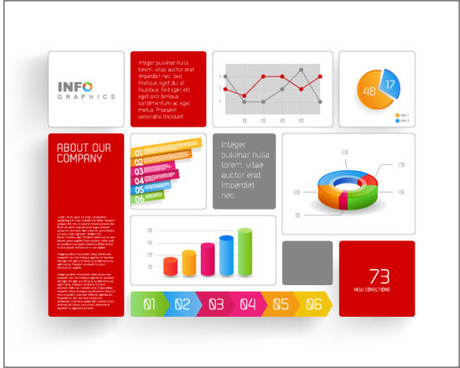 colored elements infographic vector