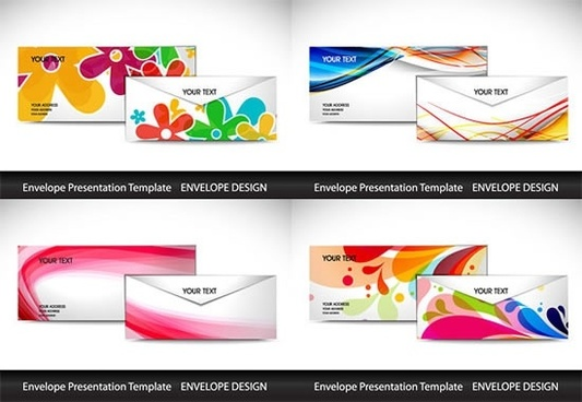 envelope templates colorful modern floral dynamic decor