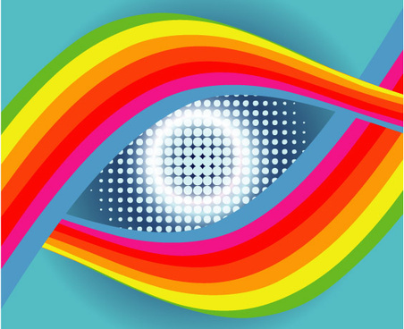 colored eye in blue free vector