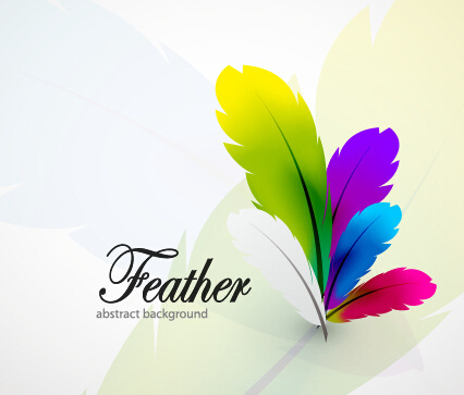 colored feathers art background