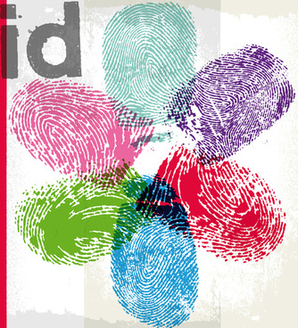 colored finger prints elements vector set