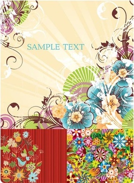 colored floral background art vector