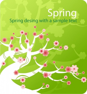 spring background cherry tree icon colorful flat design