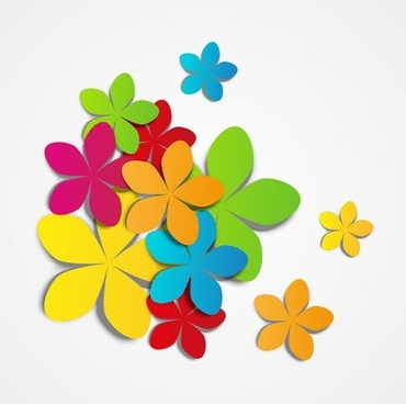 Colored flowers vector material