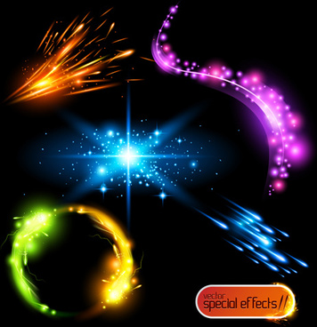 colored glowing light effects vector