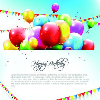 colored happy birthday balloons vector