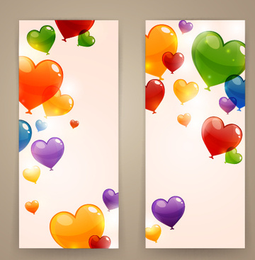 colored heart shaped balloon banner vector