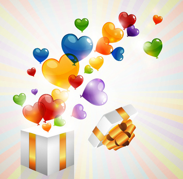 colored heart shaped balloon with gift box vector