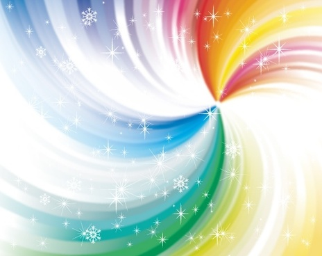 abstract colorful background swirling design and snowflakes decoration