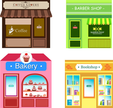 colored icons sets of shops design