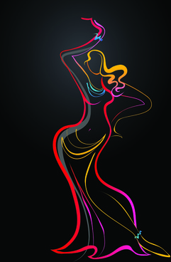 colored in woman dance design vector