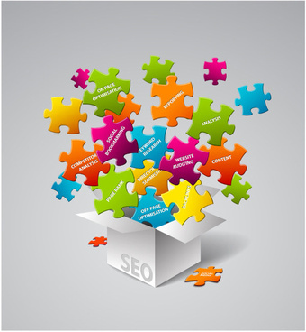 colored jigsaw elements background vector