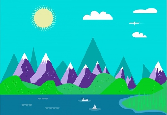 colored landscape drawing design with flat vector