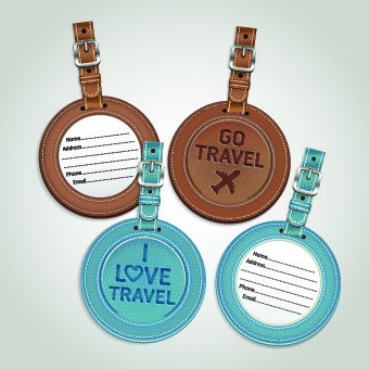 colored leather tags design vector
