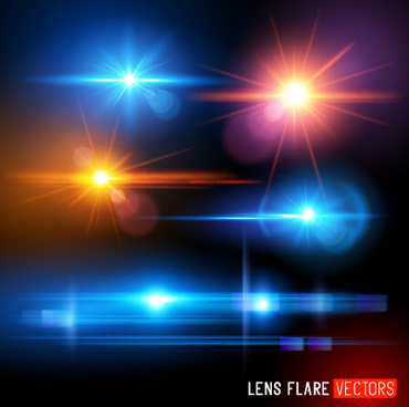 colored light effects shiny background vector