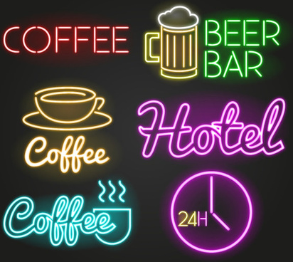 colored light sticks restaurant symbol and logos vector