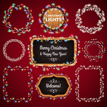 colored lights christmas frames vector set
