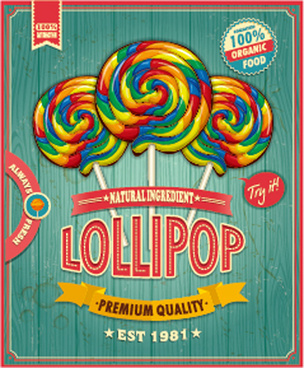 colored lollipop vintage styles poster vector