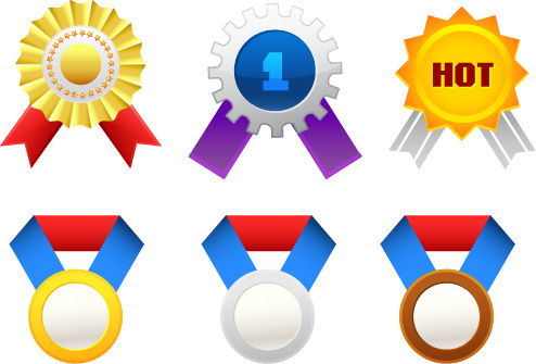 colored medal and medals vector