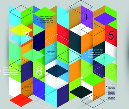 colored mosaic business infographic vector