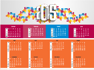 colored mosaics and15 calendar vector