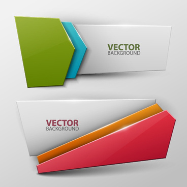 colored origami banner shiny vector