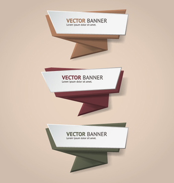 colored origami banners vectors