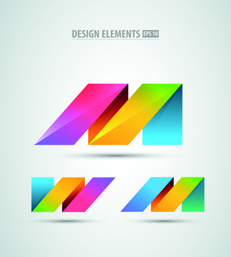 colored origami design elements vector