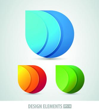 colored origami design elements vector