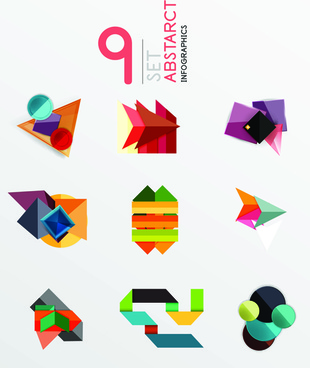 colored origami infographic elements illustration vector
