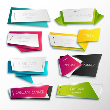 colored origami layered banner vector