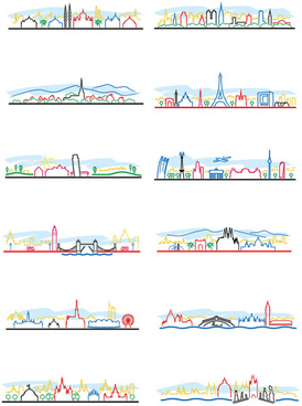 colored outline world famous buildings vector banner