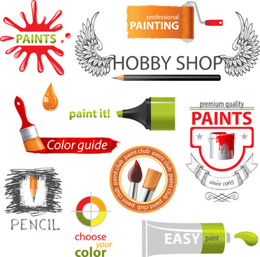 colored paint objects design elements vector