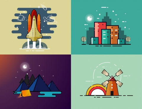 colored paintings collection spaceship buildings mountains windmill outline