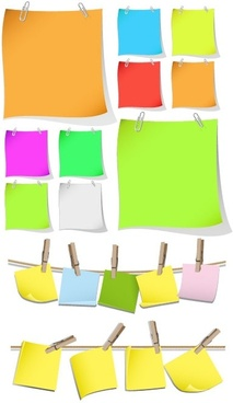 colored paper notes vector