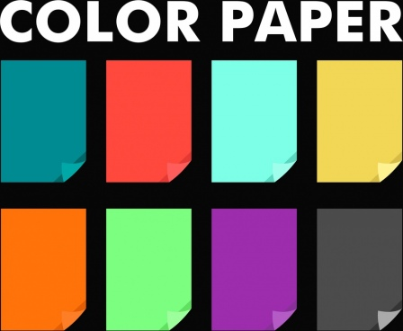 colored papers collection flat colorful isolation