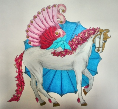 colored pencil drawing winged horse