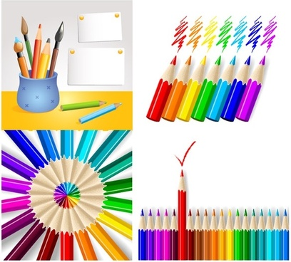colored pencil series vector
