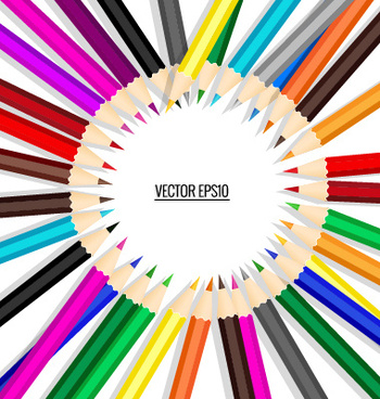 colored pencil with paper background vector