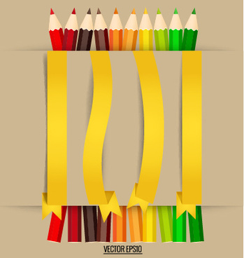 colored pencil with paper ribbon vector