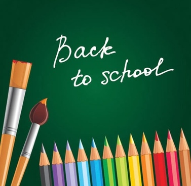 back to school banner colorful pencils brush sketch