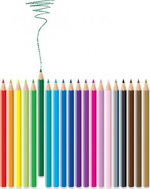 colored pencils advertising background stroke realistic decor