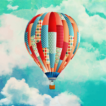 colored realistic drawing of balloon flying on sky