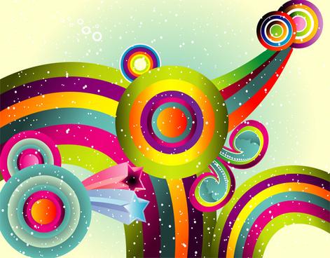 colored retro world free art design