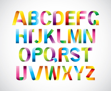colored ribbon alphabet vector
