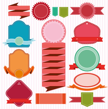 colored ribbon banners with labels vector