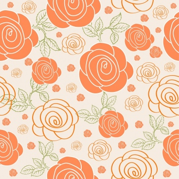 colored rose background repeating design classical style