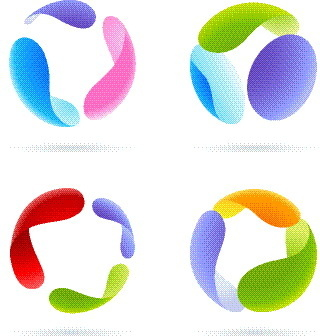 colored round abstract logos vector