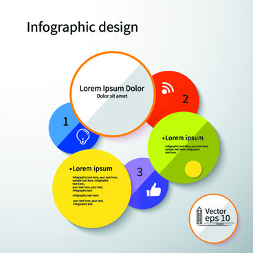 colored round infographics design vector